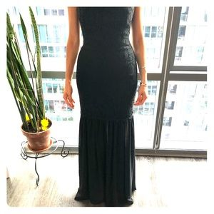 Aidan Mattox Long Black Mermaid Dress
